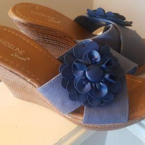 MADELINE Stewart Navy Blue Slide Wedge Sandals 8.5
